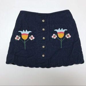Hanna Andersson skirt corduroy floral appliqué